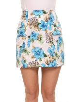 Beige High Waist Floral Printed Mini A-line Skirt