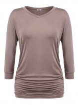 Khaki Plus Sizes V-Neck 3/4 Batwing Sleeve Solid Ruched Tops