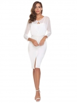 White 3/4 Sleeve Mesh Patchwork Knee Length See Through Package Hip Work Dress