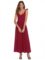 Wine red Sleeveless Tied Shoulder Back Zipper Solid Dress