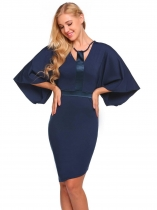 Dark blue Kimono Sleeve Front Cut Out Patchwork Dress