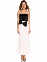 White black Spaghetti Strap Velvet Patchwork Bowknot Fishtail Dress