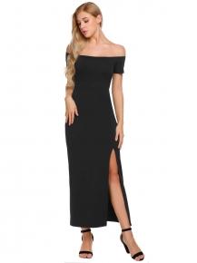 5fbcb7af10 Black Women Slash Neck Off Shoulder Short Sleeve Package Hip Side Split  Sexy Dress
