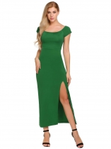 Vert Femmes Casual Slash Neck Off The Shoulder Short Sleeve Package Hip Side Split Sexy Dress