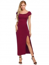 Vin rouge Vin rouge Femmes Casual Slash Neck Off The Shoulder Short Sleeve Package Hip Side Split Sexy Dress