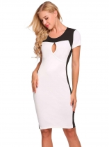 White Short Sleeve Patchwork Keyhole Sexy Dress