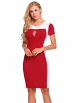 Red Short Sleeve Patchwork Keyhole Sexy Dress