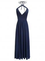 Dark blue Halter Sleeveless Backless Long Sexy Dress