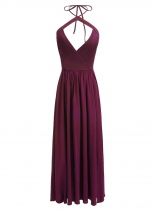 Wine red Femmes Casual Halter Sans manches Backless A-Line Plissé Hem Split Long Sexy Dress