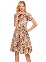 Apricot Floral O-Neck Short Sleeve Back Lace Up A-Line Dress