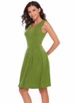 Deep green Notch Collar Sleeveless Zipper A-Line Dress