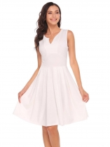 White Notch Collar Sleeveless Zipper A-Line Dress