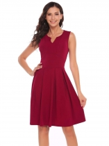 Wine red Notch Collar Sleeveless Zipper A-Line Dress