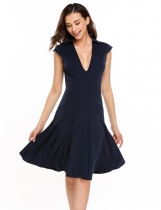 Dark blue Deep V-Neck Cap Sleeve Solid A-Line Swing Dress