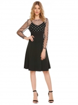 Black Mesh Dot Patchwork A-Line Dress
