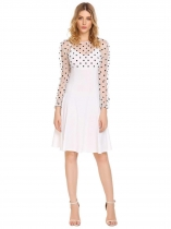 White Mesh Dot Patchwork A-Line Dress