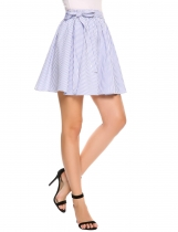 Light blue Striped Elastic Waist A-Line Pleated Mini Skirt