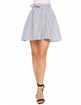 Navy blue Striped Elastic Waist A-Line Pleated Mini Skirt