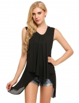 Black Asymmetrical Hem Solid Pullover Sleeveless Loose Tank Tops
