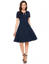 Navy blue Short Sleeve Solid Bow Tie A-Line Dress