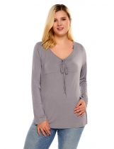 Grey V-Neck Long Sleeve Front Tie Solid Tops