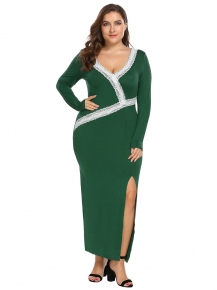 57a6851c93 Dark green V-Neck Long Sleeve Lace Patchwork Split Bodycon Dress