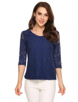 Dark blue 3/4 Sleeve V-neck Lace Patchwork Long Sleeve Slim T-shirts