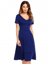 Navy blue V-Neck Short Sleeve Solid A-Line Dress