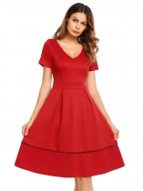 Wine red V-Neck Short Sleeve Solid A-Line Dress