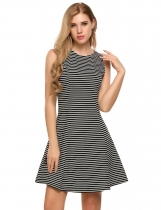 Black white O-Neck Sleeveless Striped Back Zipper A-Line Dress