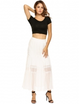 White High Elastic Waist Chiffon Patchwork Pleated Skirt
