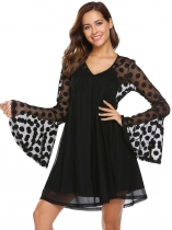 Black Flare Long Sleeve Mesh Patchwork Dot Dress