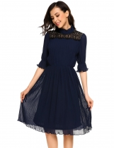 Navy blue Lace Patchwork Stand Collar High Waist Pleated Dress