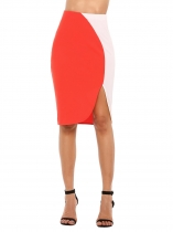 Orange High Elastic Waist Contrast Color Pencil Skirt
