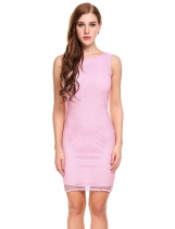 Hollow Out sin mangas Bodycon lápiz vestido corto