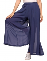 Navy blue Elastic Waist Solid Wide Leg Loose Pleated Chiffon Pants