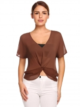 Brown V-Neck Short Sleeve Solid Front Pleated Knot Chiffon Blouse