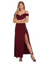 Wine red Femmes Spaghetti Strap Solid Slit Bodycon Slim Pencil Robe de fête mariage