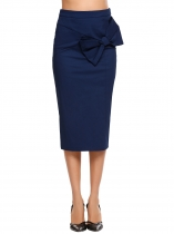 Navy blue Solid High Waist Bowknot Back Zipper Skirt