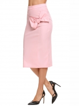Pink Solid High Waist Bowknot Back Zipper Skirt