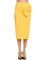 Yellow Solid High Waist Bowknot Back Zipper Skirt