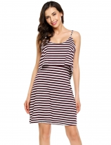 Dark red Sleeveless Back V Striped Layered Cami Short Dress
