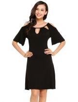Black Cut-out Butterfly Sleeve Cold Shoulder Short Dress