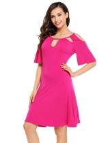 Rose red Cut-out Butterfly Sleeve Cold Shoulder Short Dress