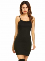 Noir Femmes Mode Spaghetti Strap sans manches Mini Bodycon Slim Pencil Dress
