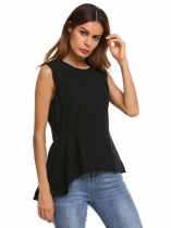 Black Mulheres Casual O Neck Solid Keyhole Voltar Asymmetrical Hem Ruched Waist Vest Tank Top