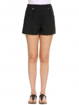 Black High Waist Button Solid Casual Shorts with Pocket