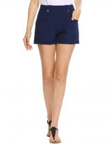 Dark blue High Waist Button Solid Casual Shorts with Pocket