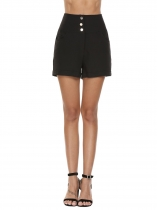 Black High Waist Solid Button Casual Shorts with Pocket