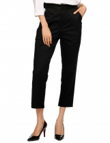 Black Flat Front Solid Relaxed Fit Ankle Pants with Pockets
